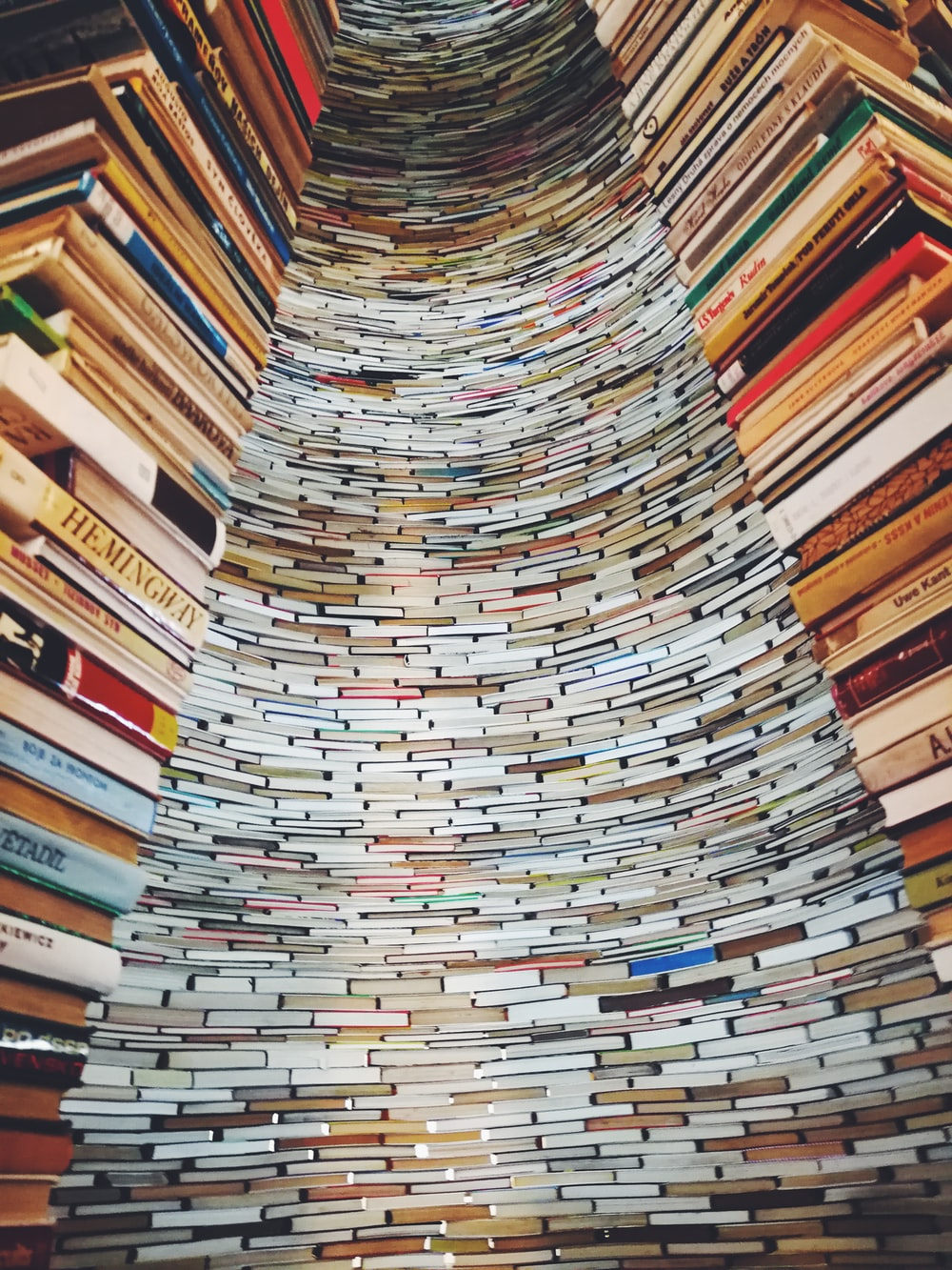 low angle photo of tower of books