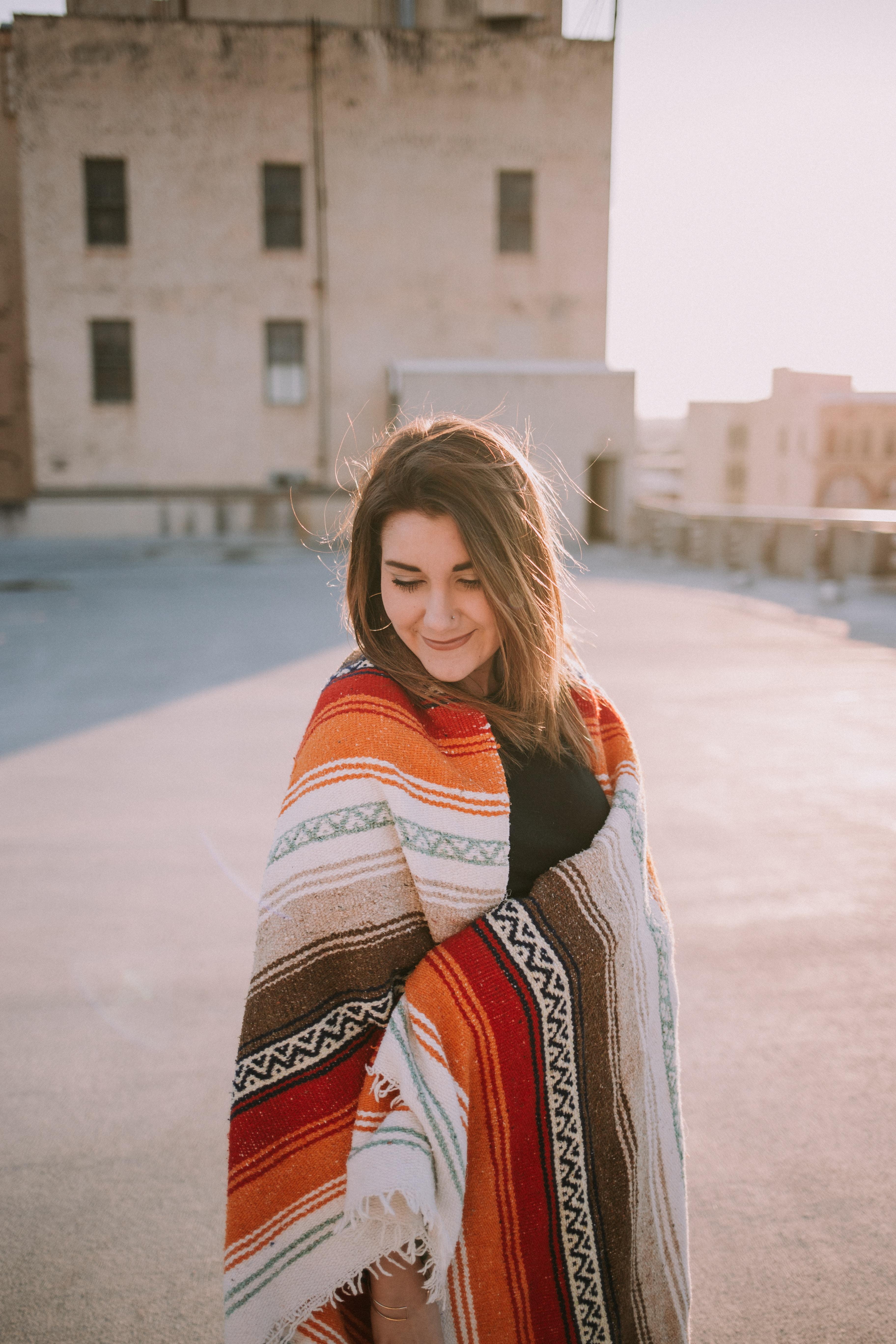 women's orange and multicolored shawl scarf