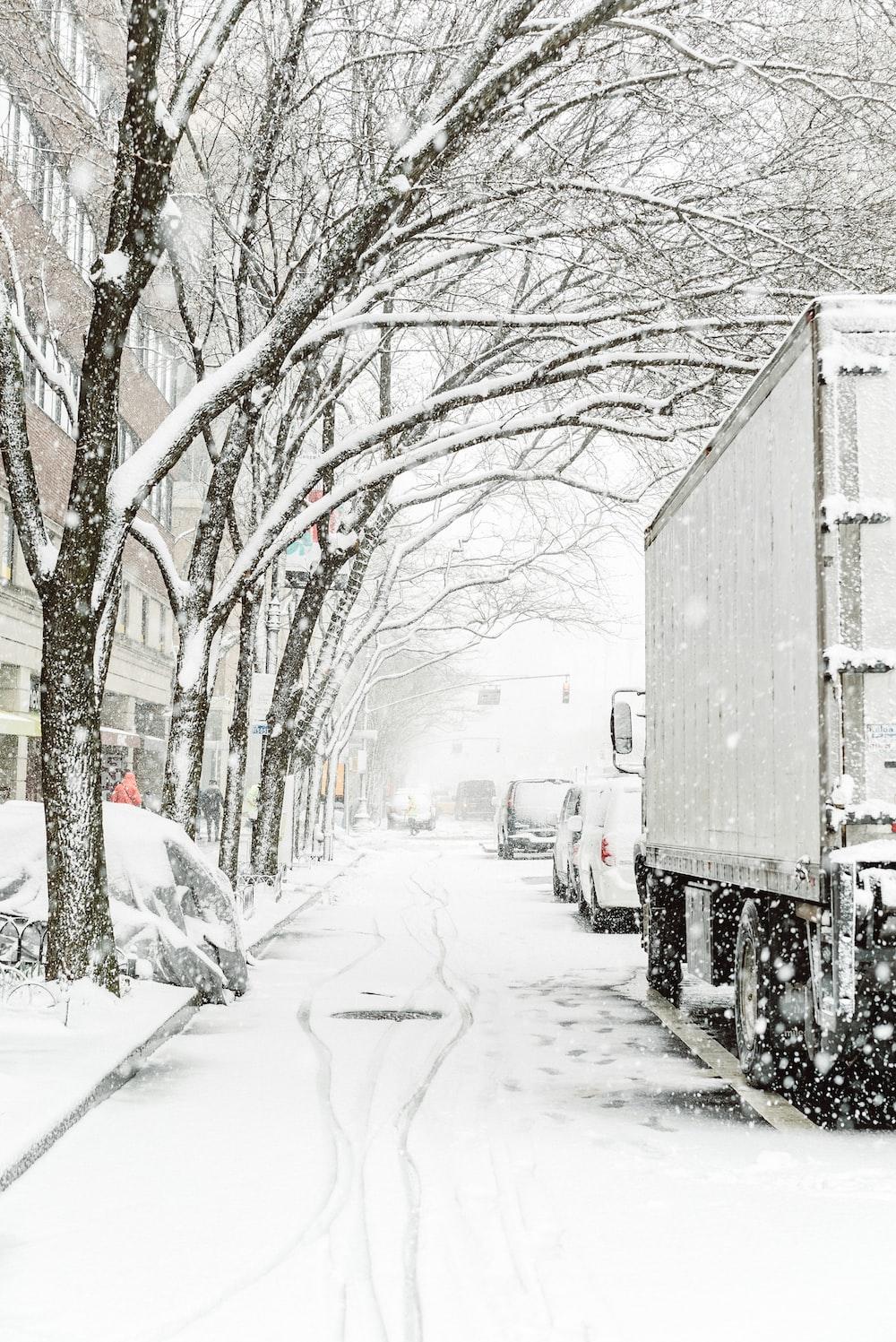 gray truck on snowy road