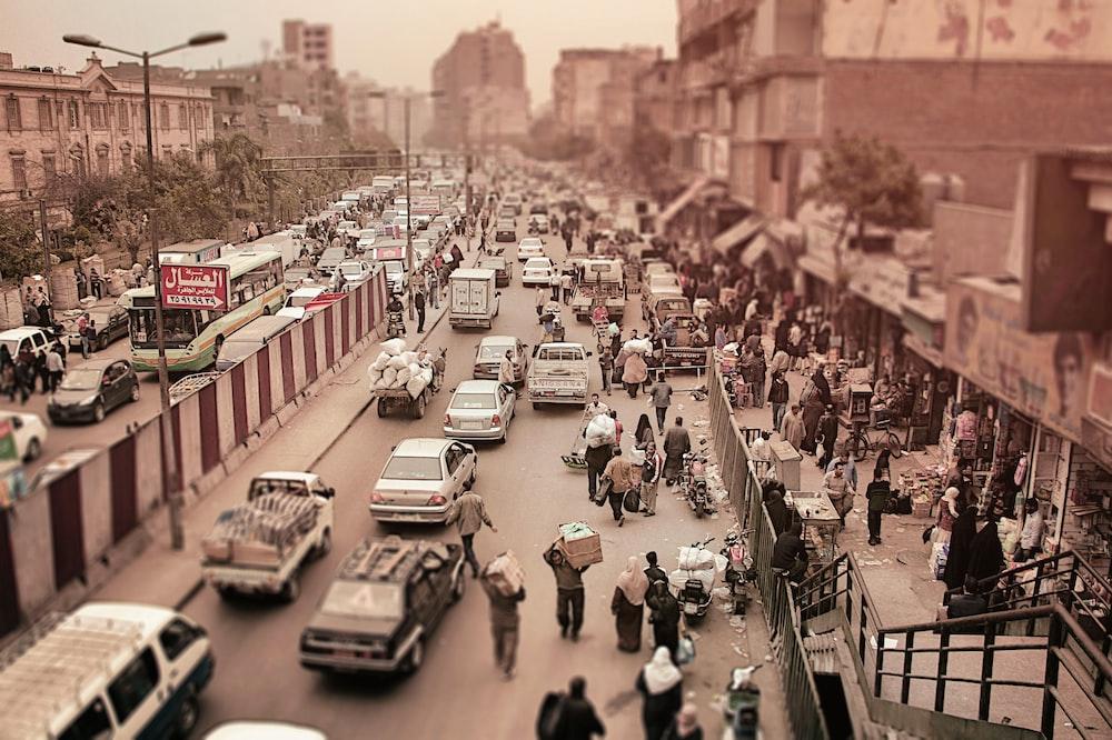 aerial photo of city street