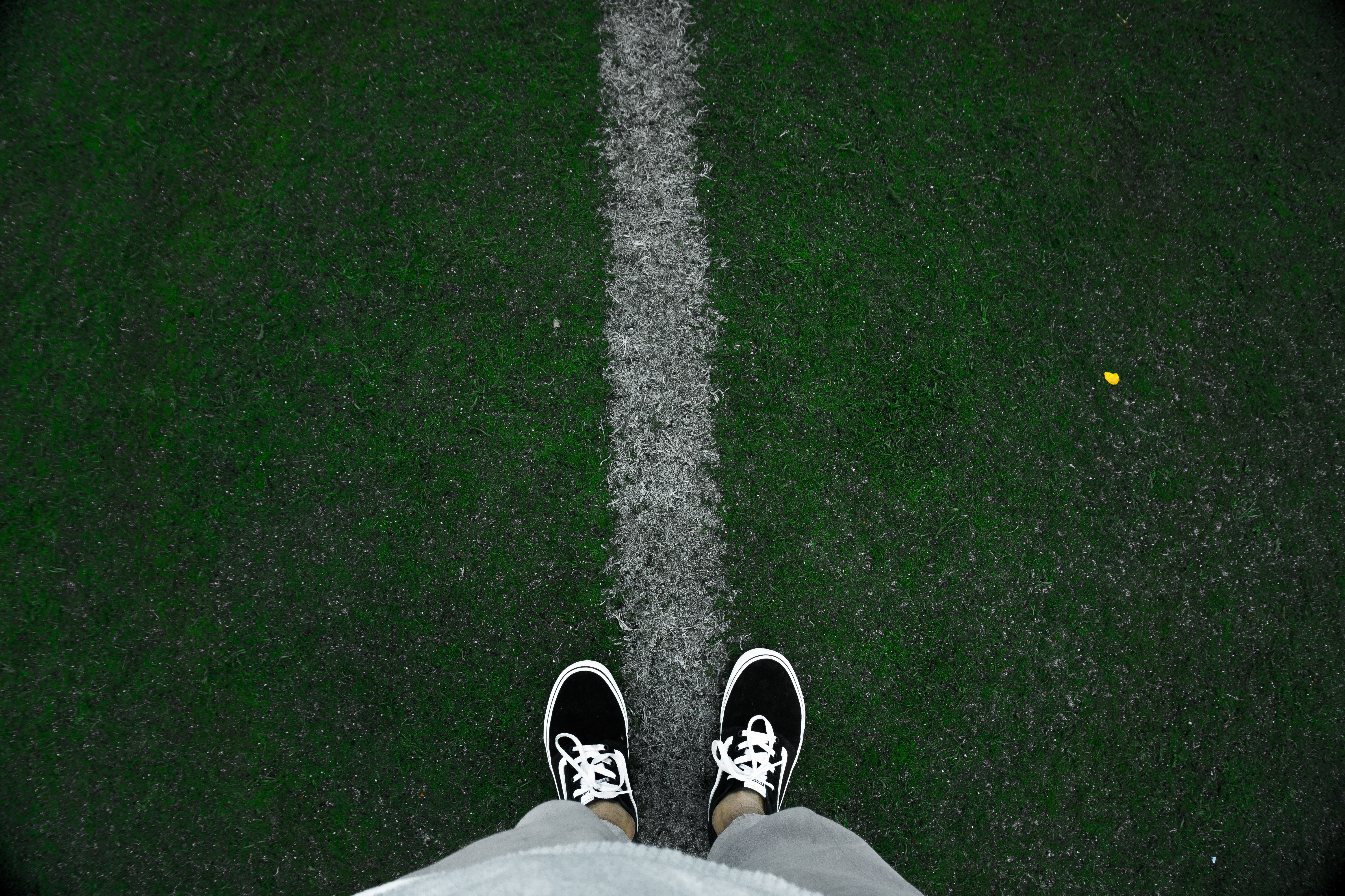 person wearing black low-top sneakers standing on green grass at daytime