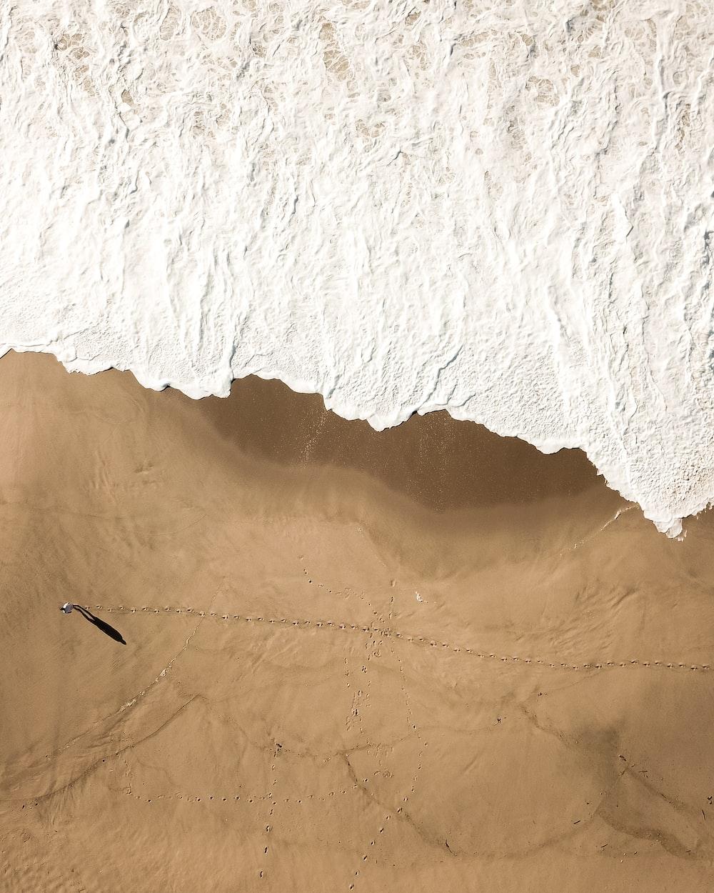 aerial view of person near beach