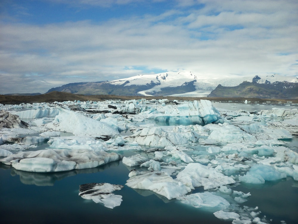 landscape photo of ice burgs