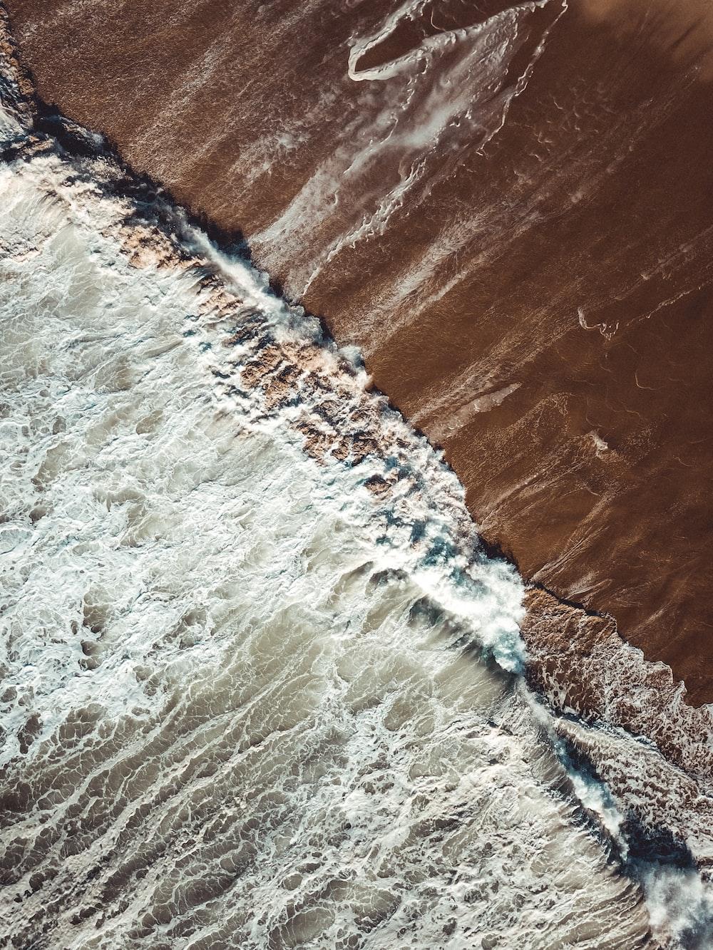 birds eye view photo of seashore