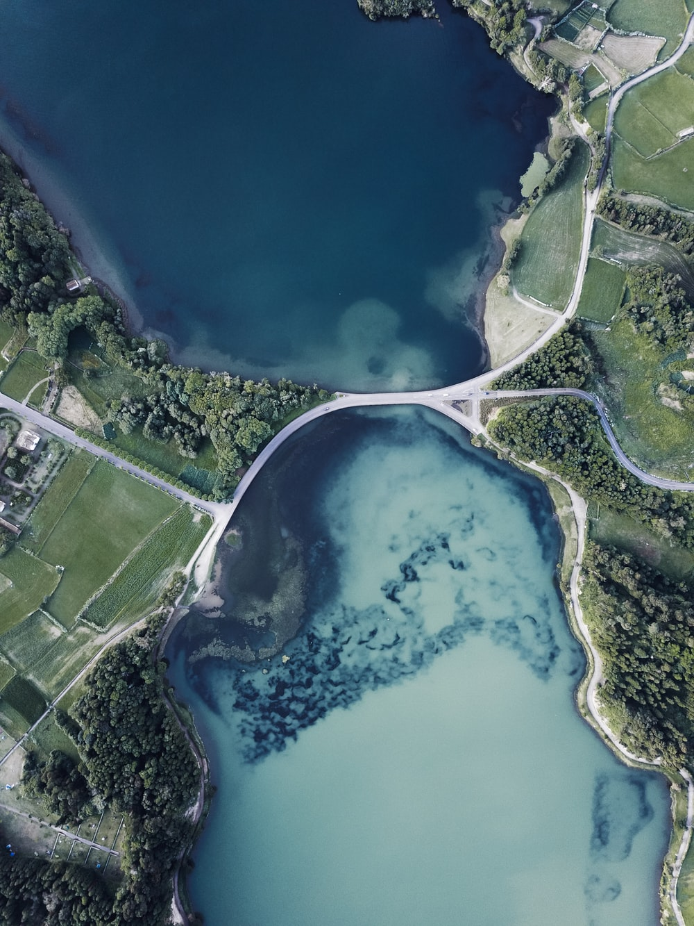 aerial photography of body of water between green land
