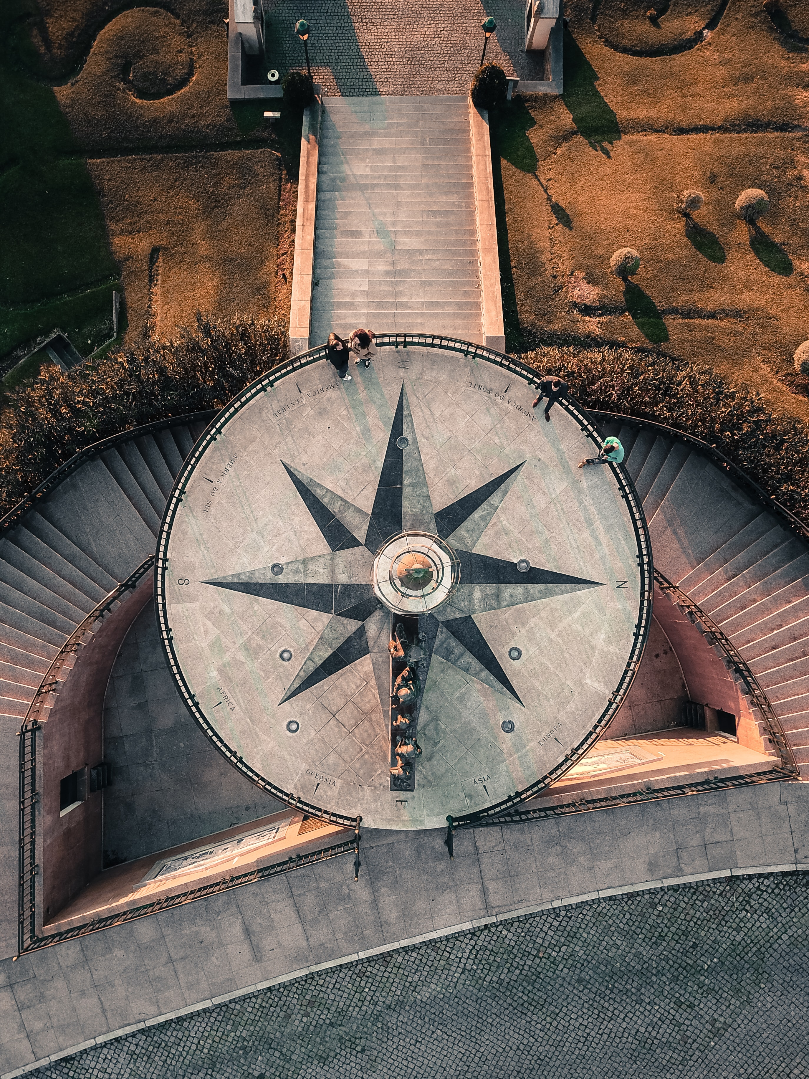 aerial photography of compass-themed terrace