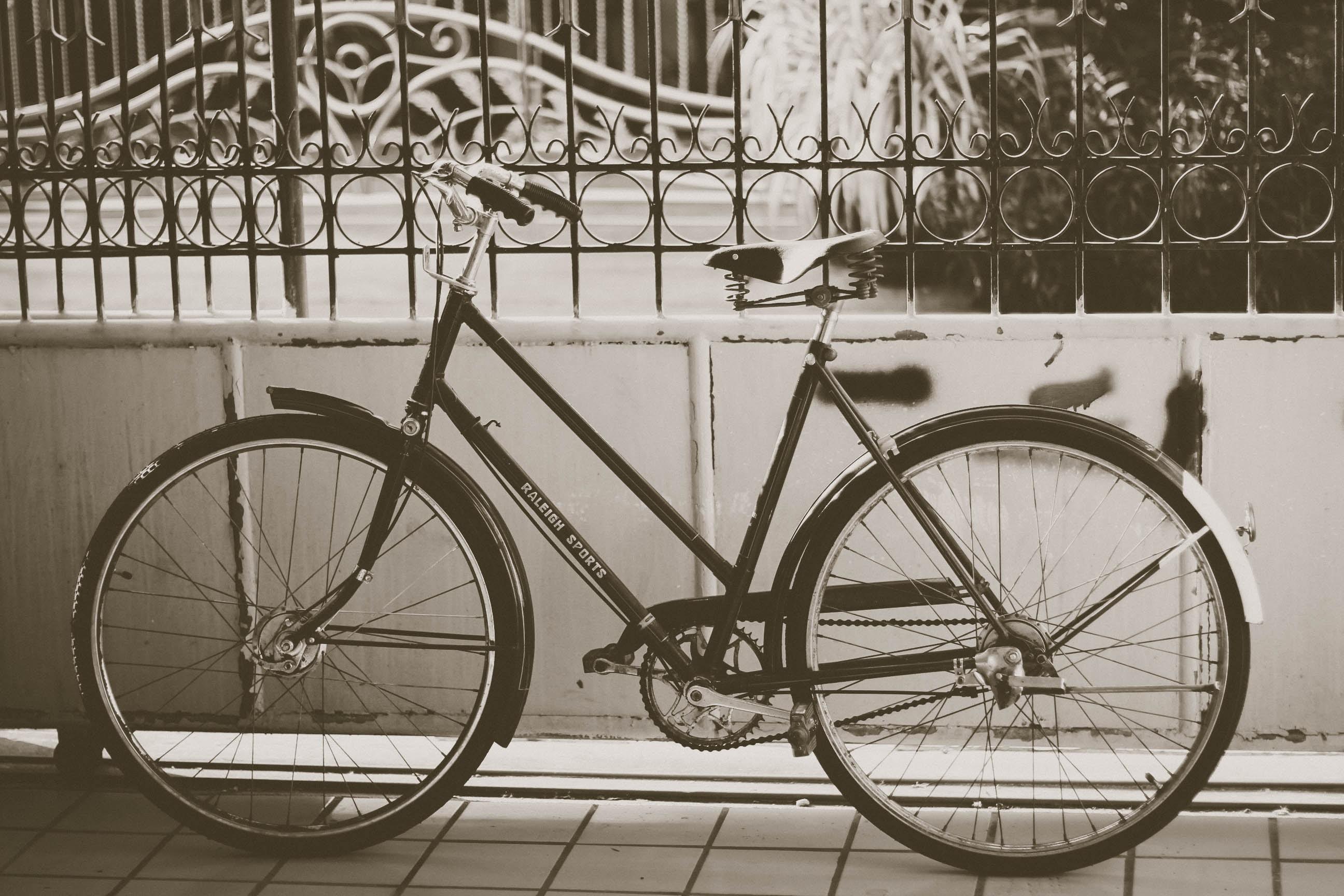 grayscale photo of rigid mountain bike