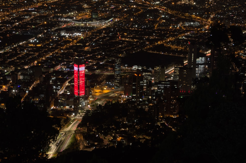 red lighted building aerial photo