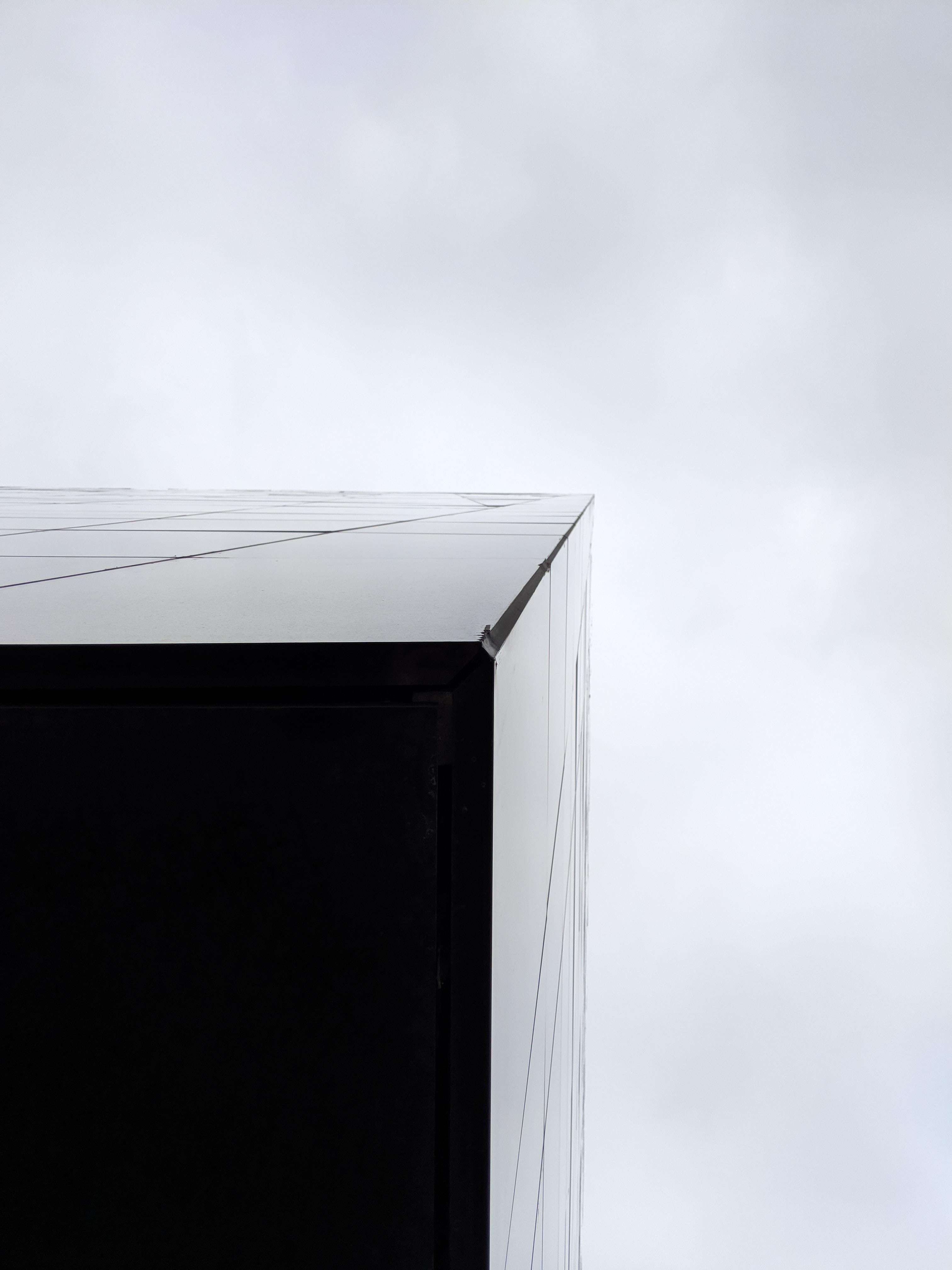 low angle photography of gray sky