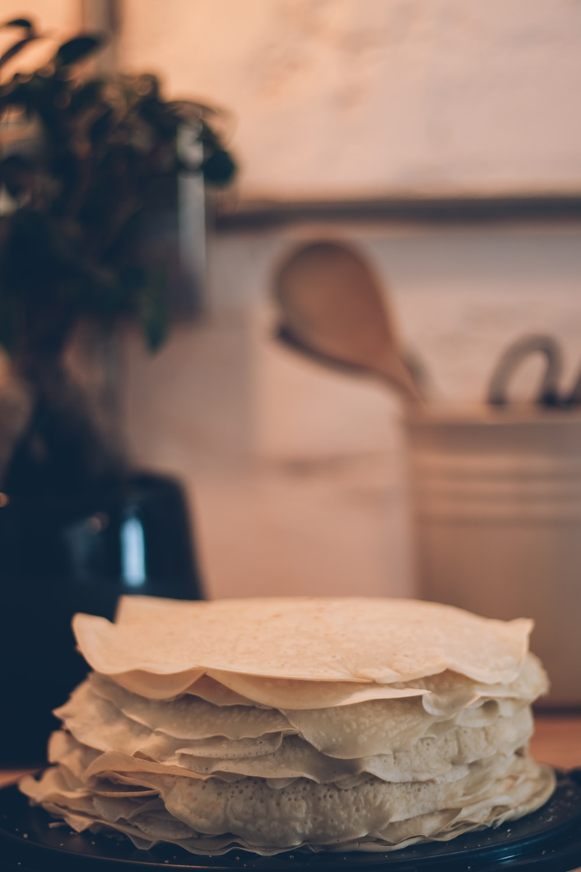 white pita bread on black frame