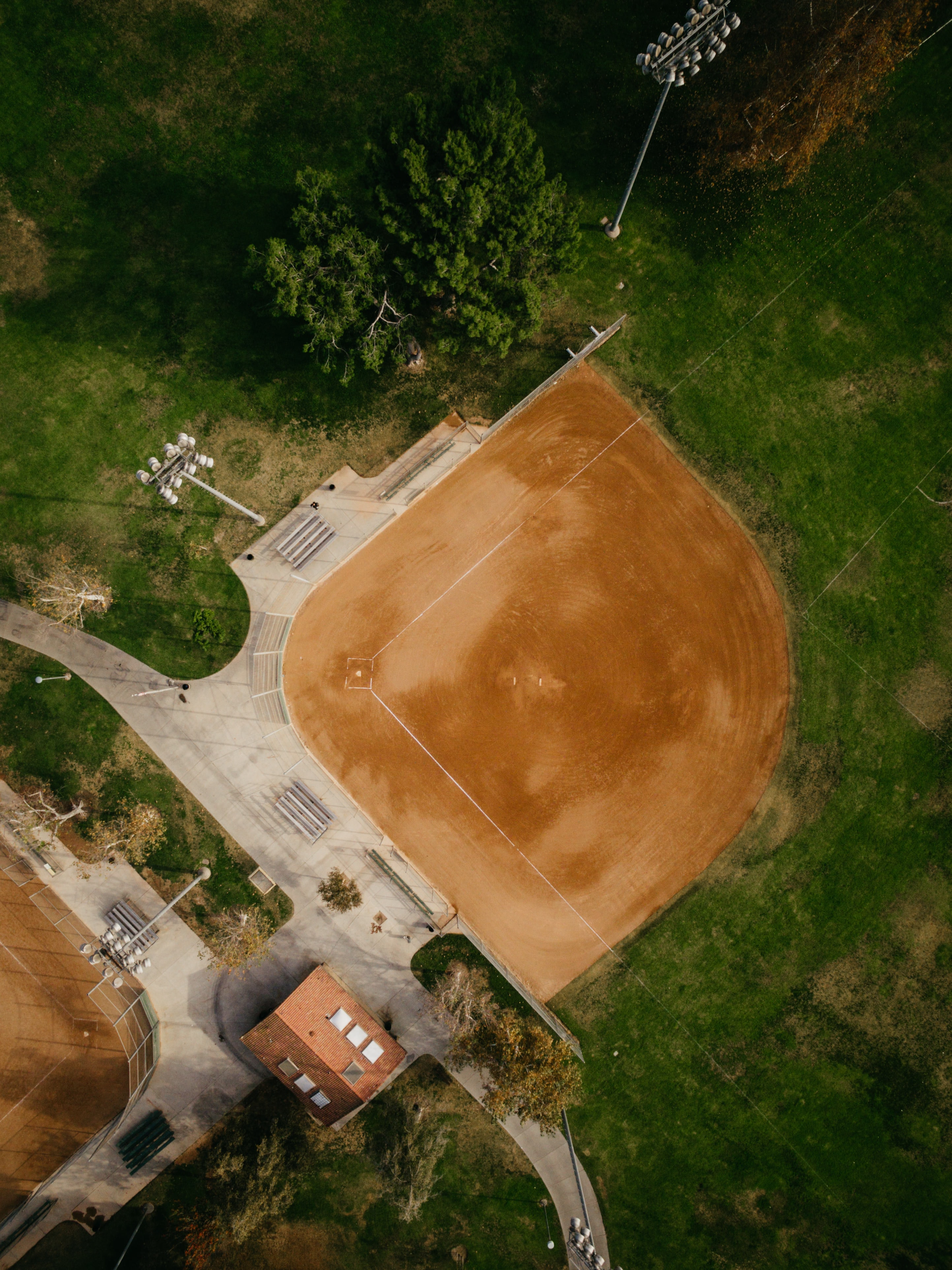 aerial photography of brown field