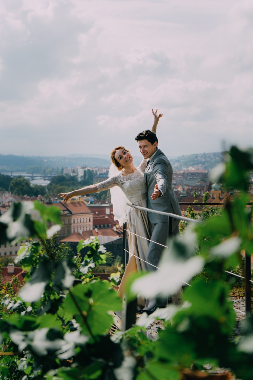 newlyweds on terrace