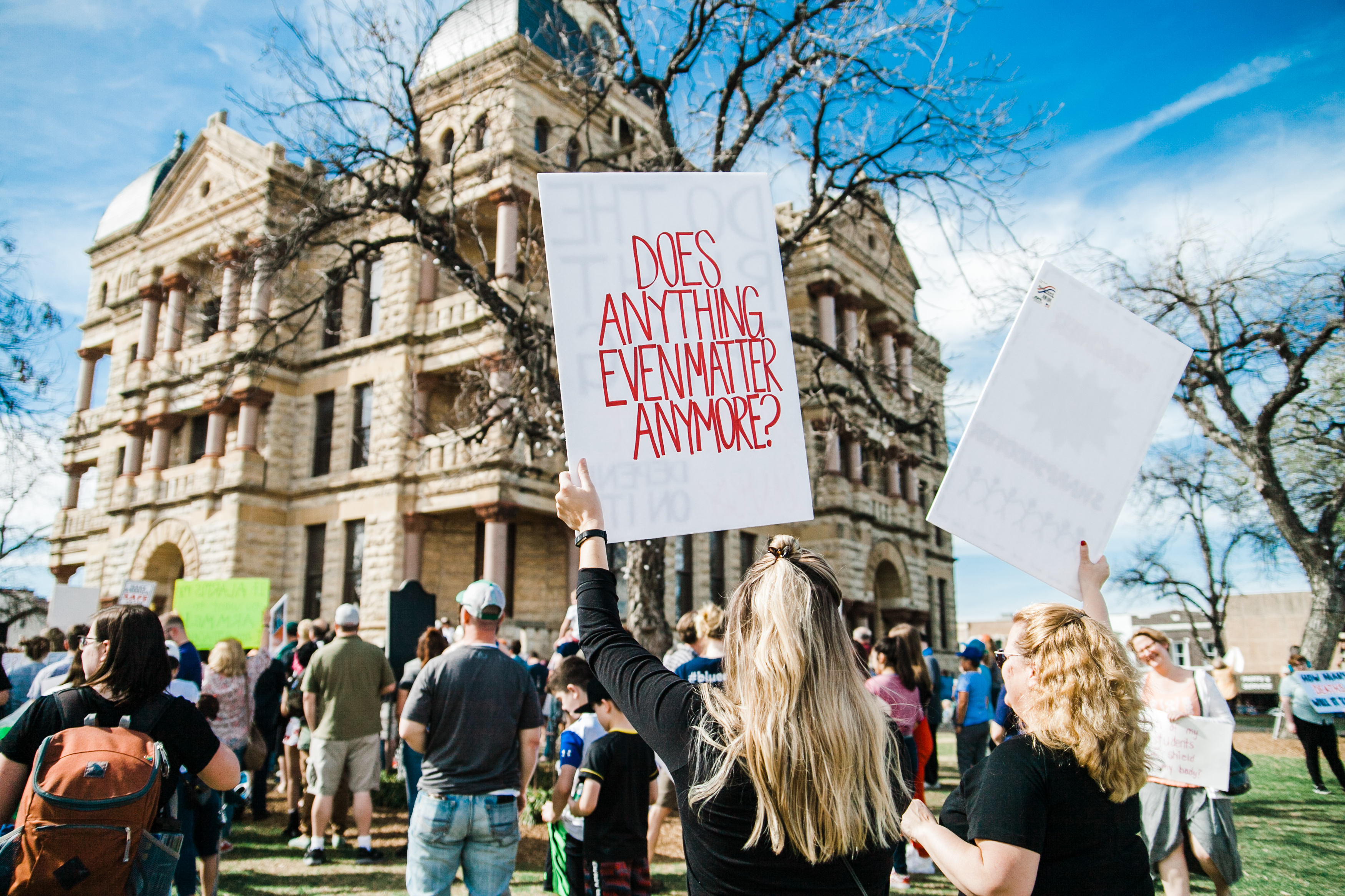 A poignant protest sign seen at the March for Our Lives rally in Denton, Texas.