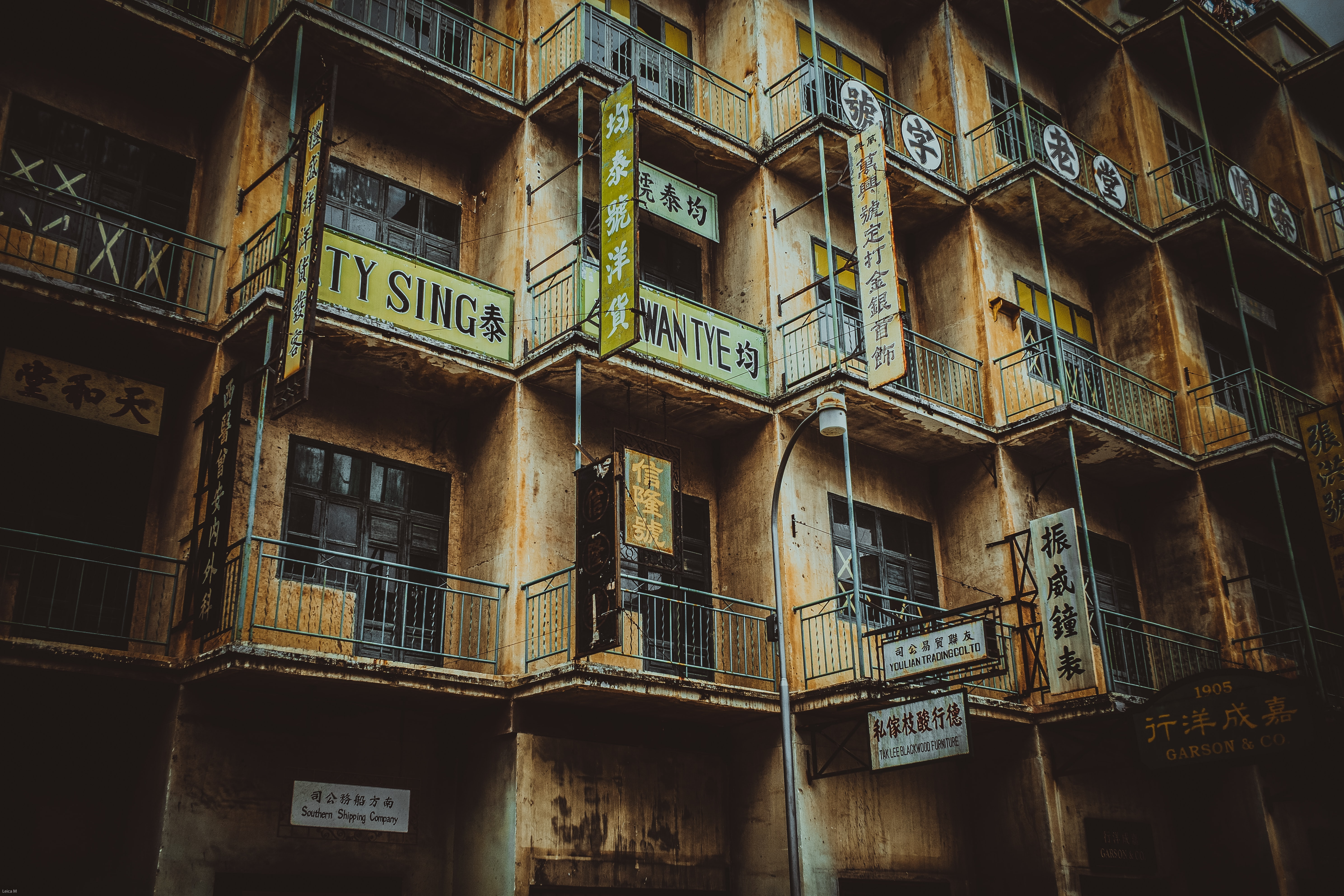 architectural photography of yellow building