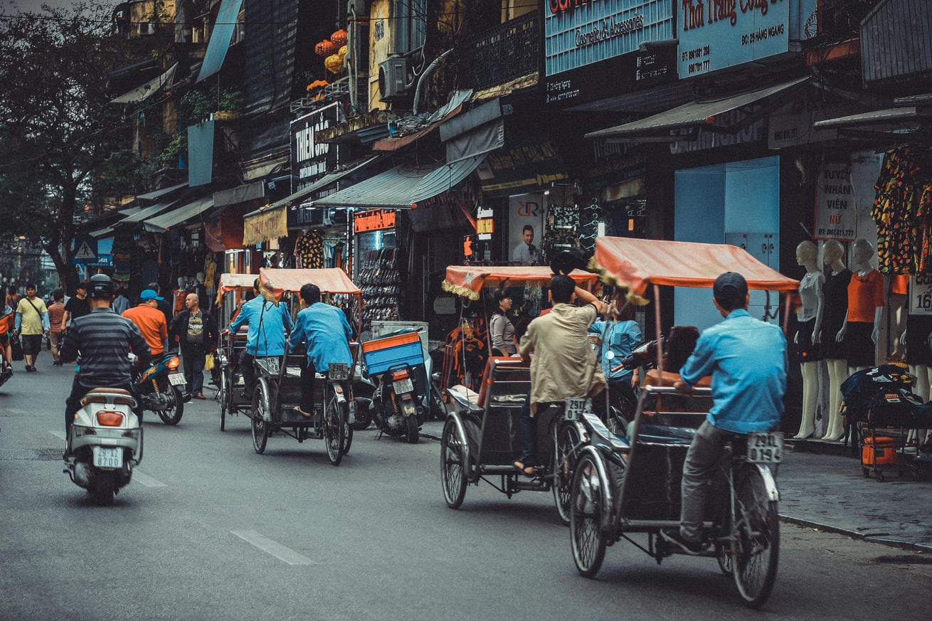 The busy streets in Hanoi, Vietnam.
