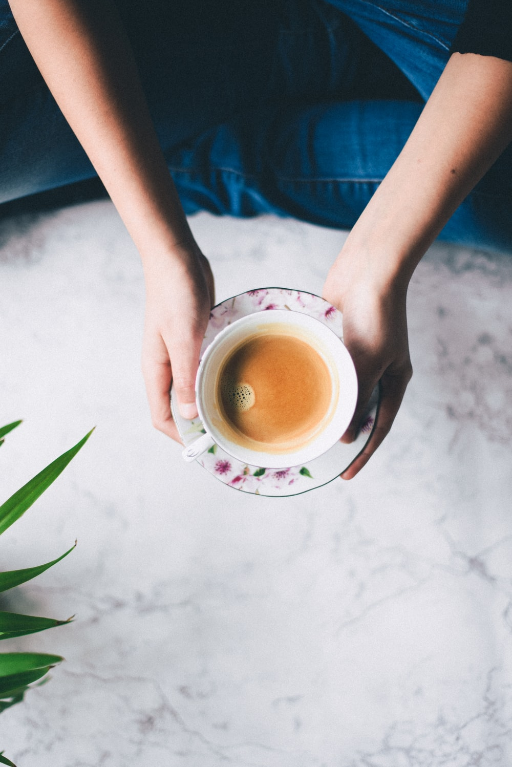 flat-lay photography of person holding teacup