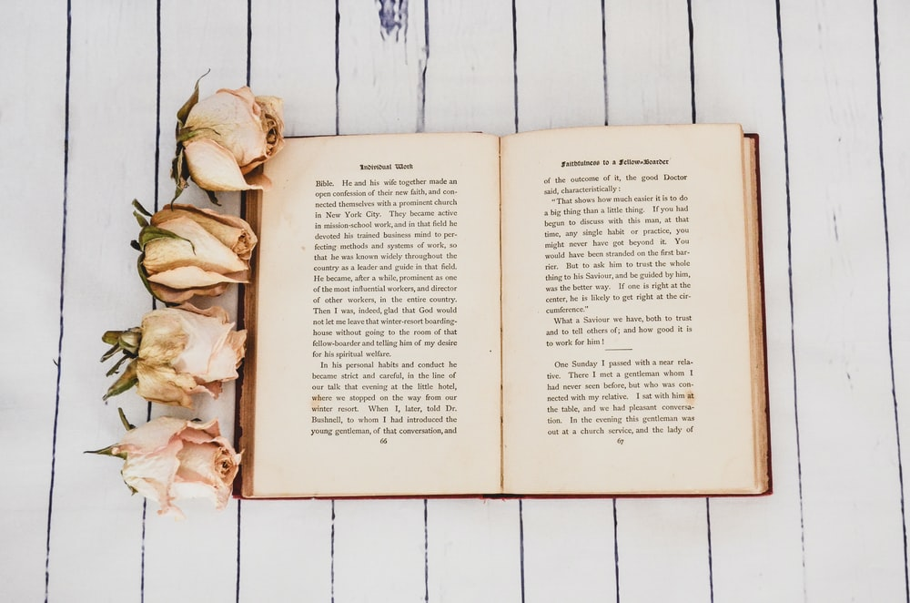 white book opened near four white roses