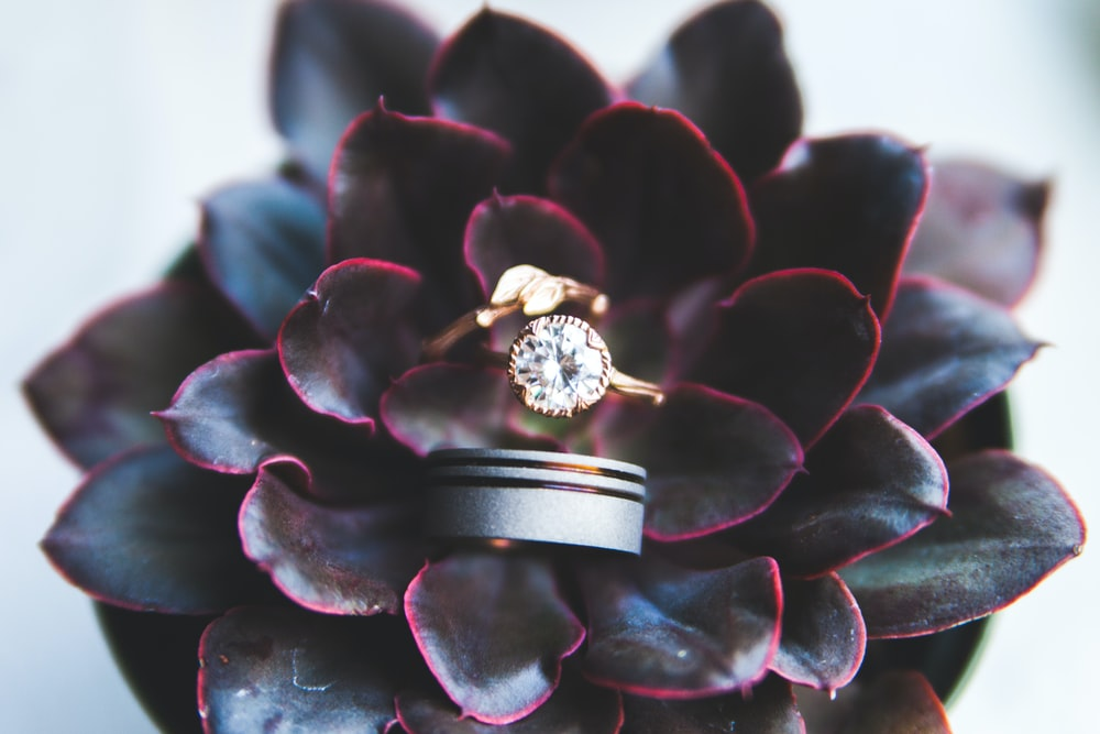 gold-colored ring with gemstone on black flower