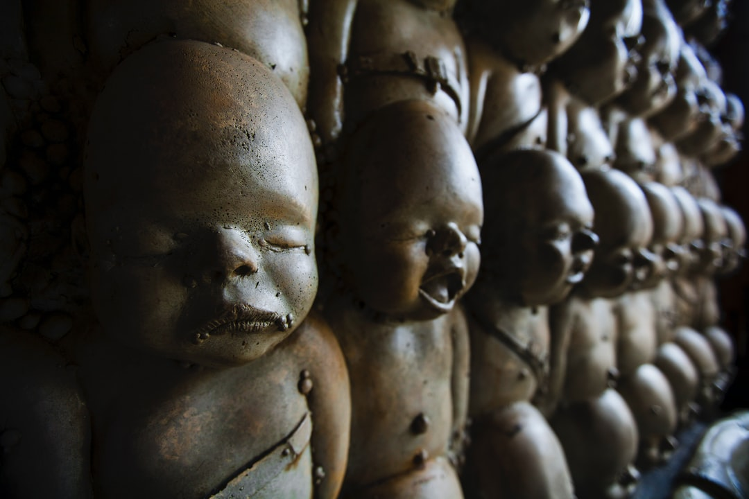 Part of the Giger Bar in Gruyere, Switzerland and across from the Giger Museum this wall of babies is pretty creepy.
