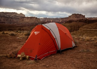 red and white dome tent on Grand Canyon, Arizona