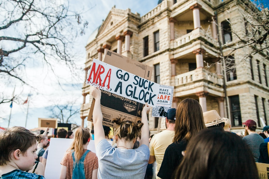 A student holds a sign at March for Our Lives in Denton, Texas on March 24th, 2018.