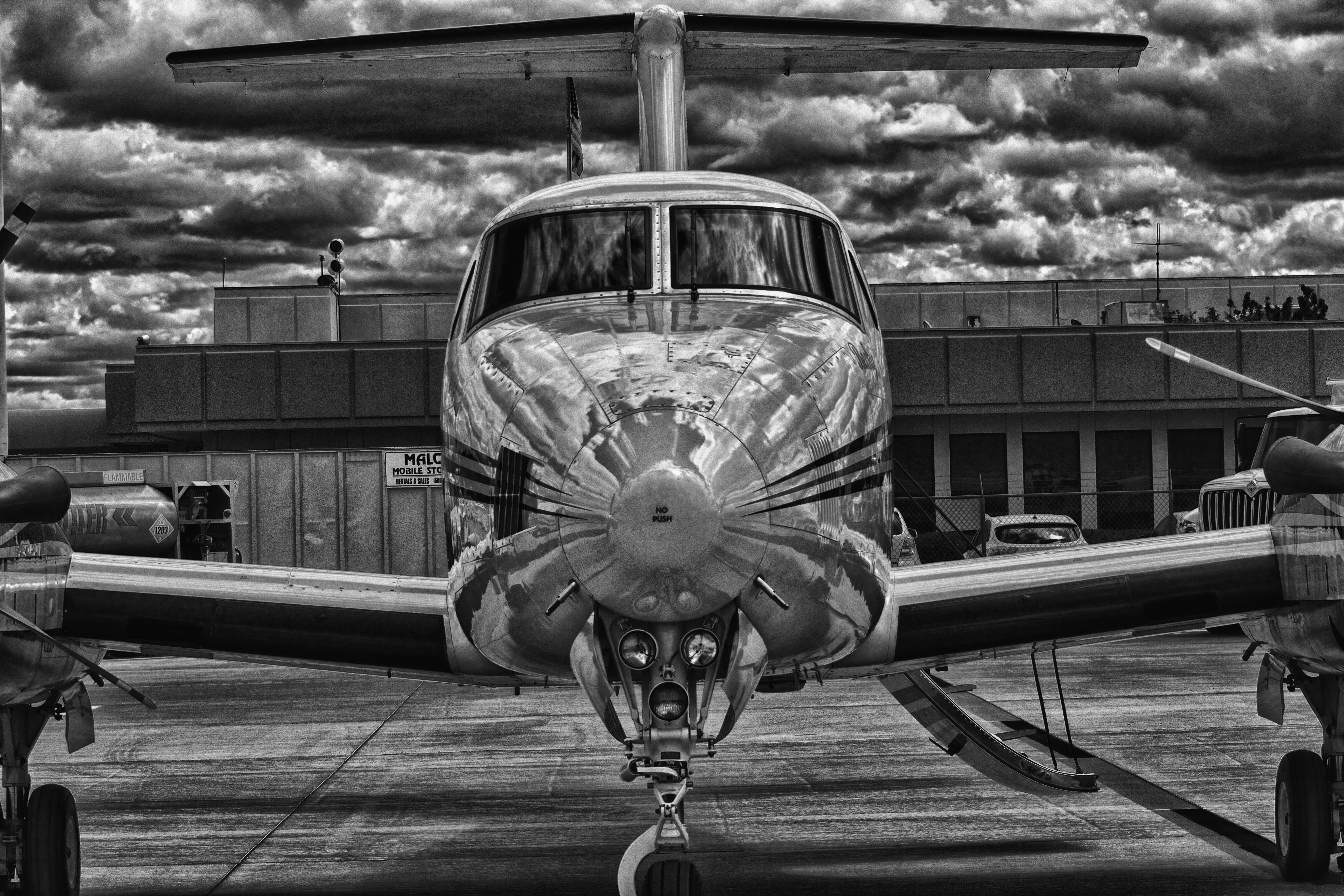 grayscale photo of airplane photo