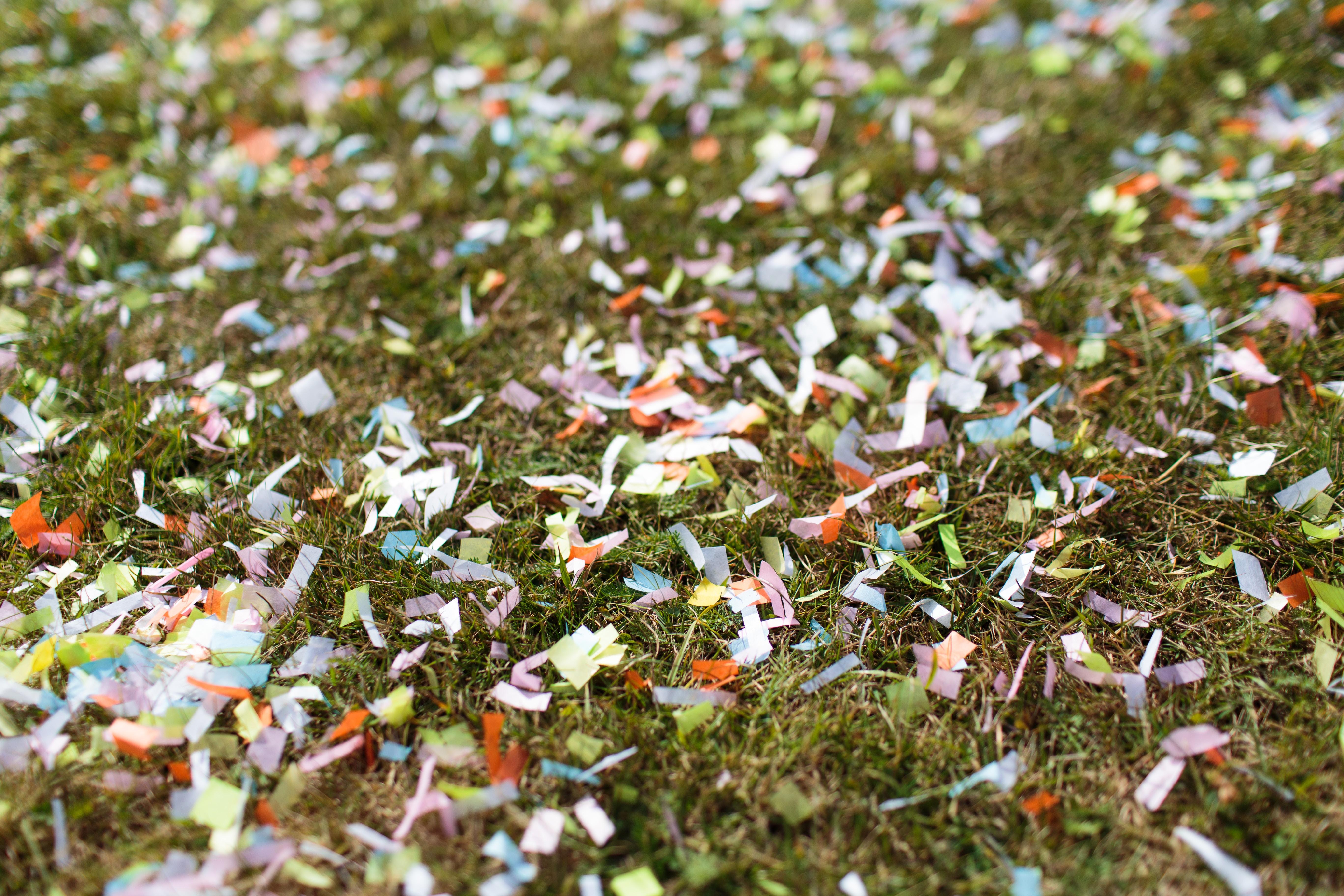 confetti on grass