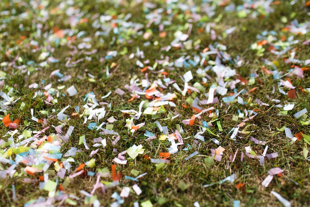 confetti on grass