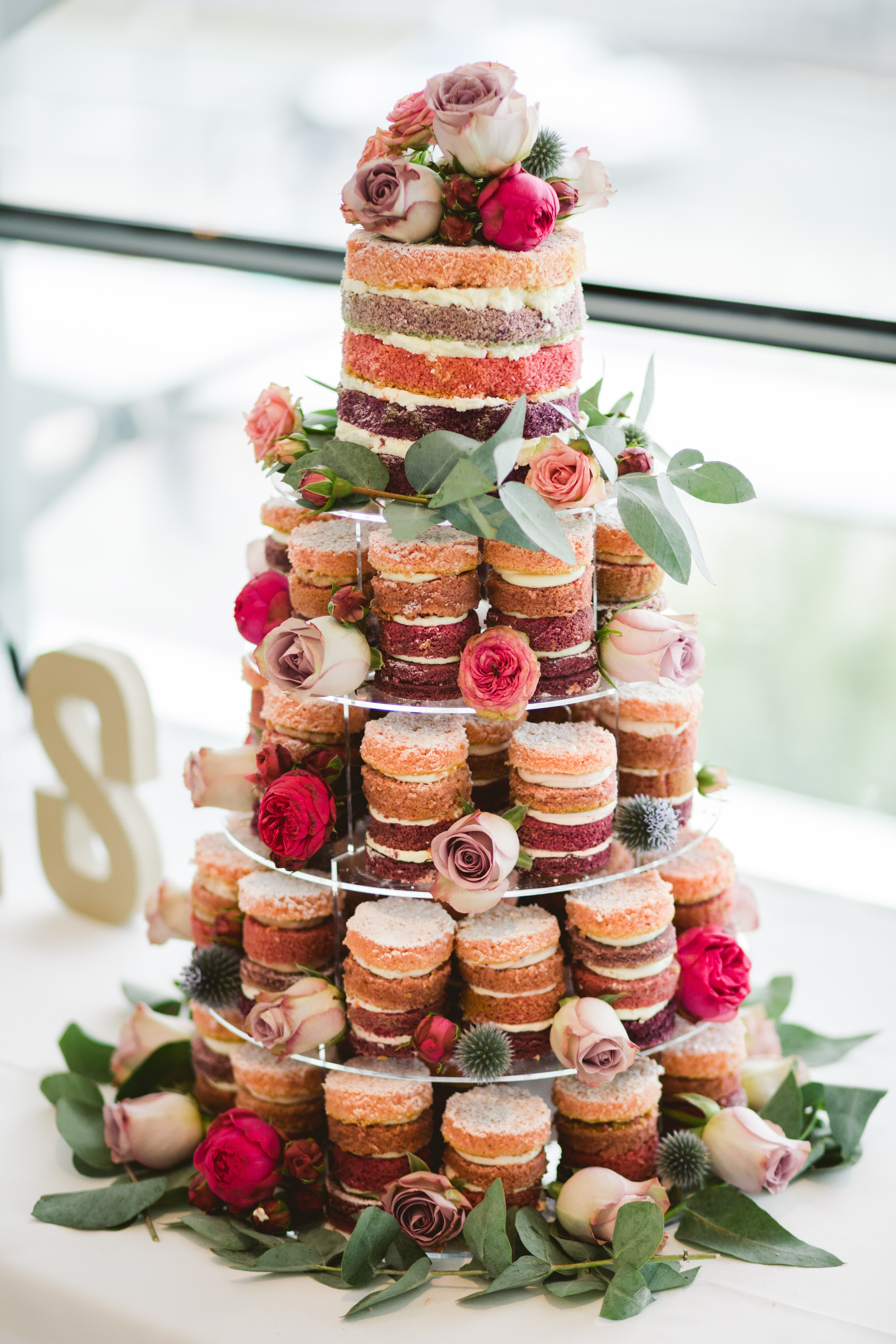 multi-tier floral mousse cake