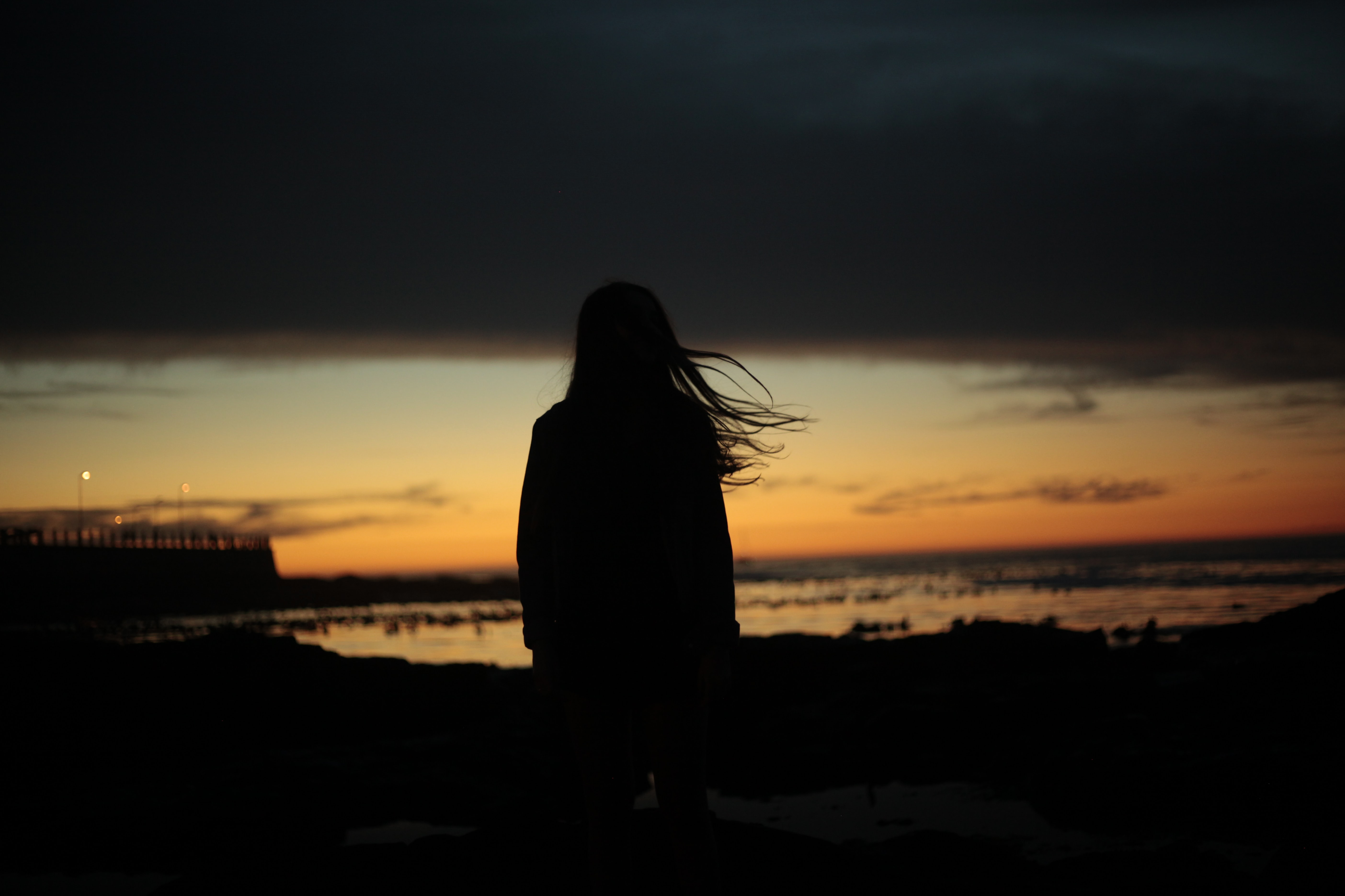 silhouette of woman near beach