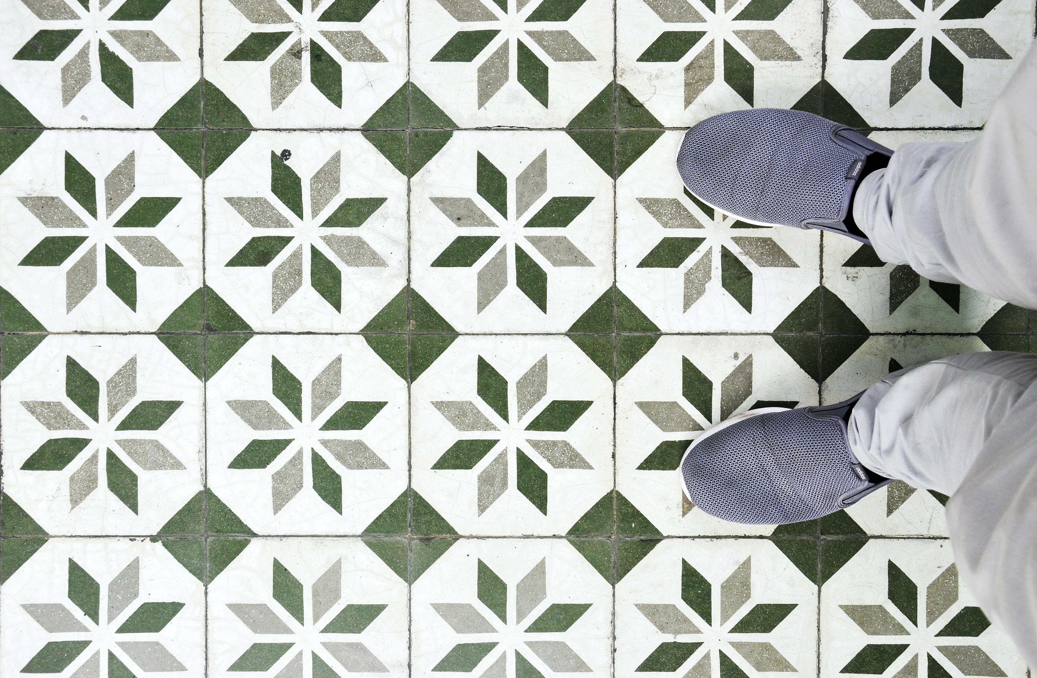 green and white tile flooring
