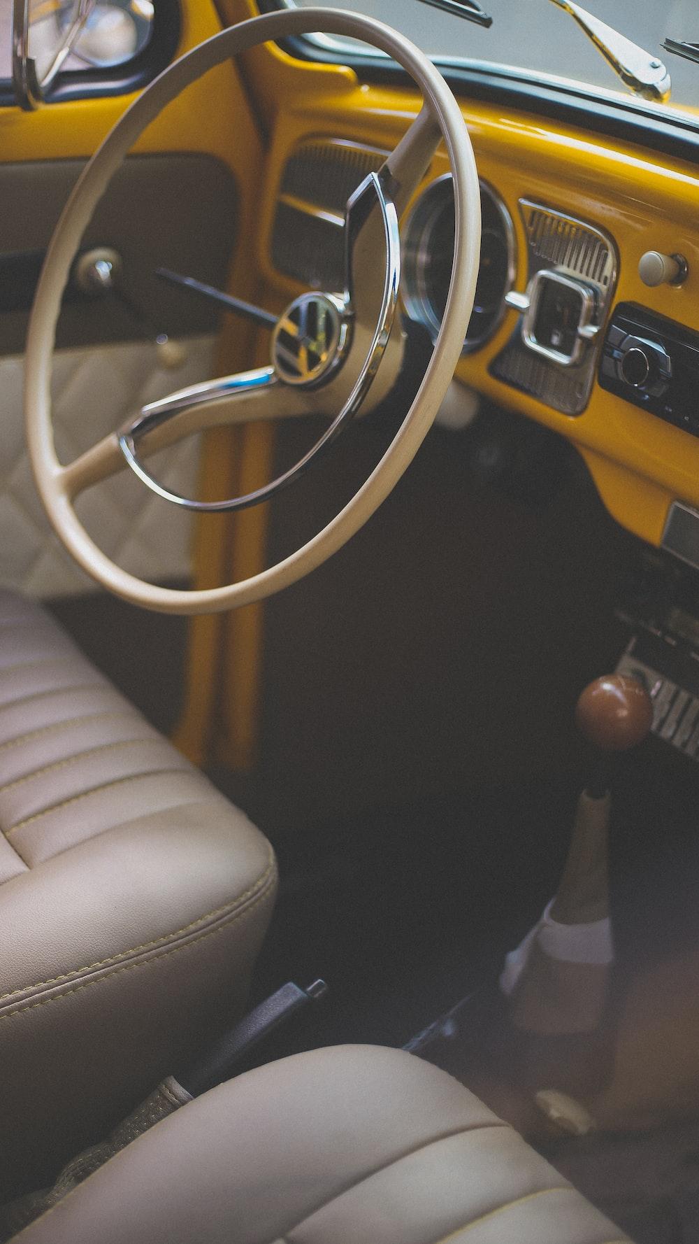 macro shot of Volkswagen steering wheel