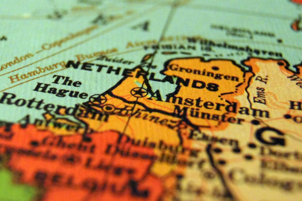 selective focus of Netherlands map