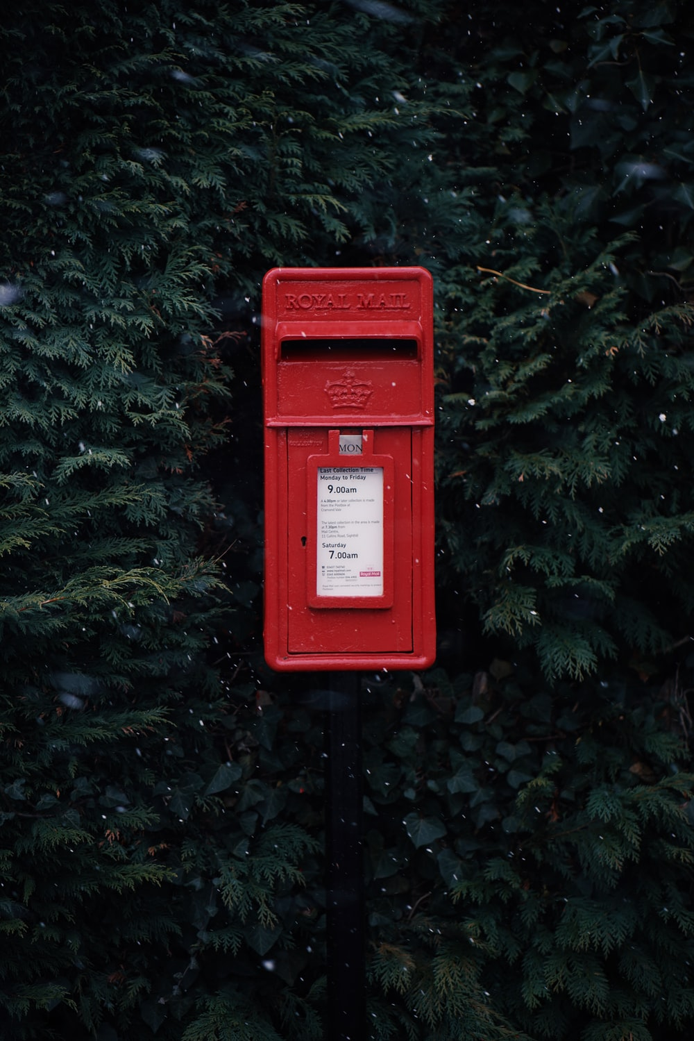 red steel Royal Mail mailbox