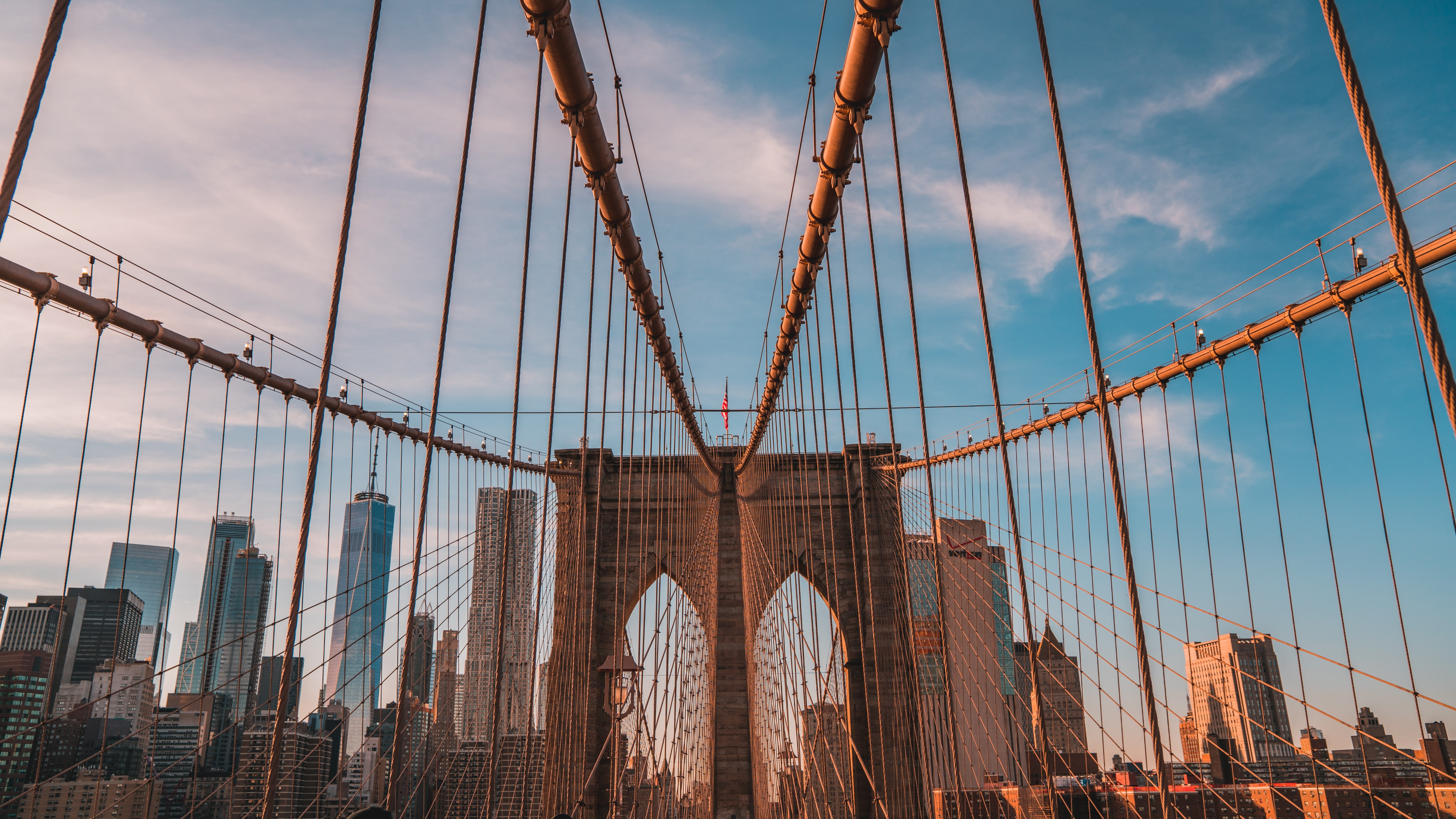 high angle photography of Brooklyn Bridge at daytime