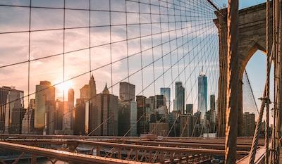 brooklyn bridge during golden hour new york city zoom background
