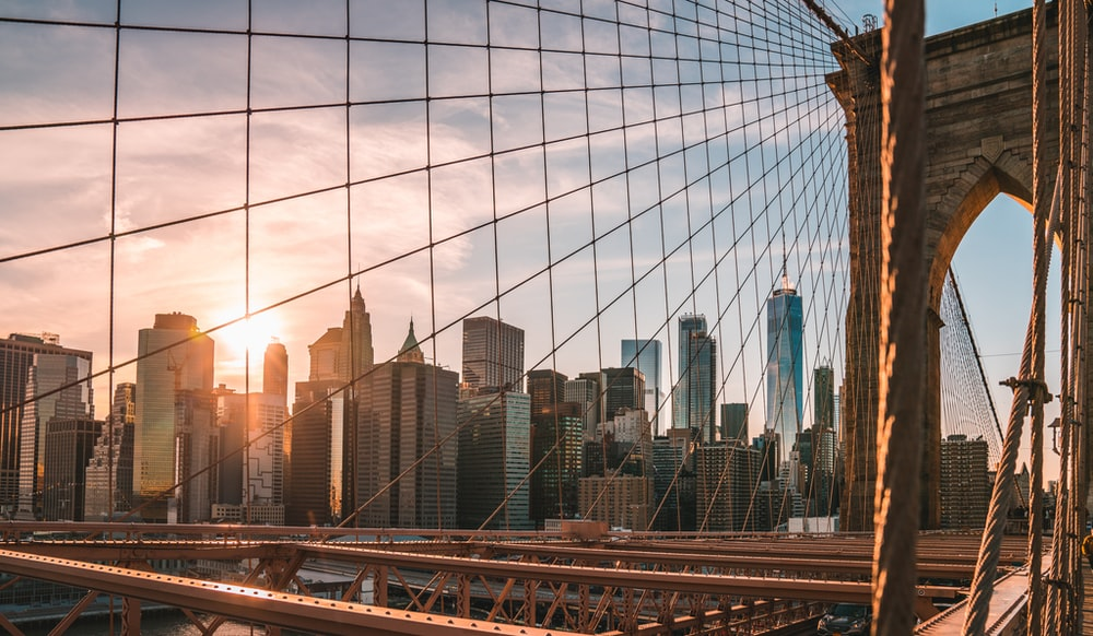 Brooklyn Bridge during golden hour