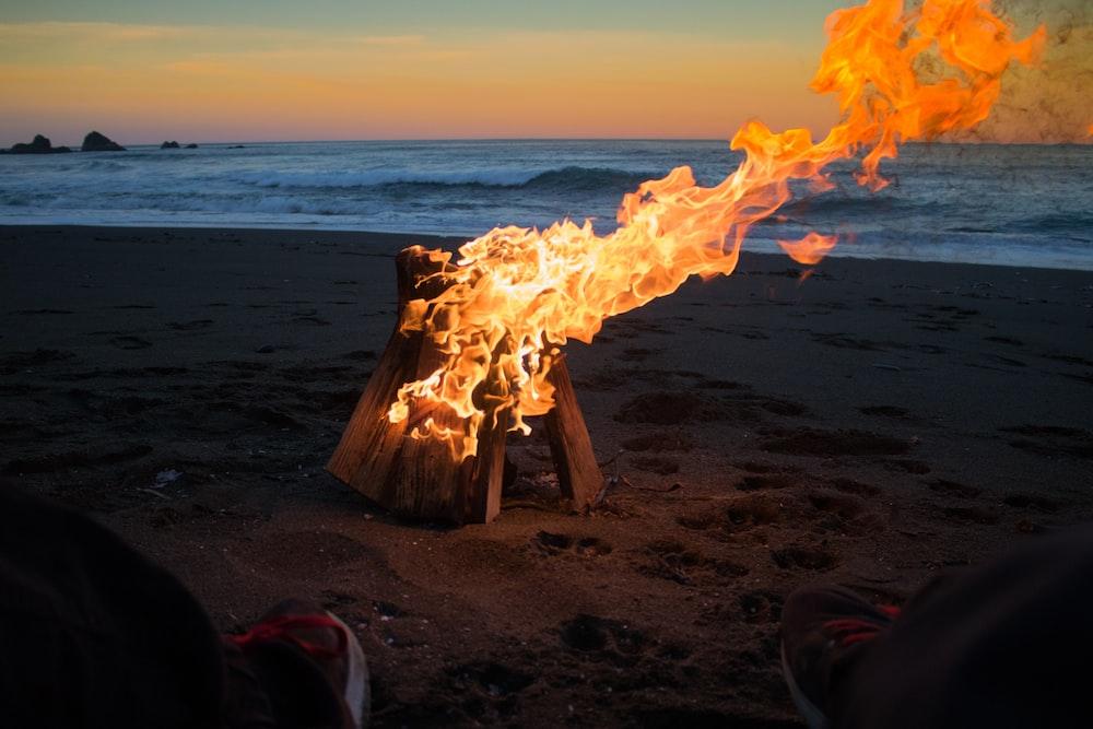 time lapse photo of bonfire on seashore during daytime