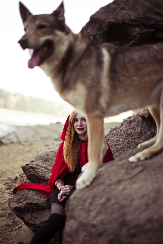 woman wearing red hood near dog