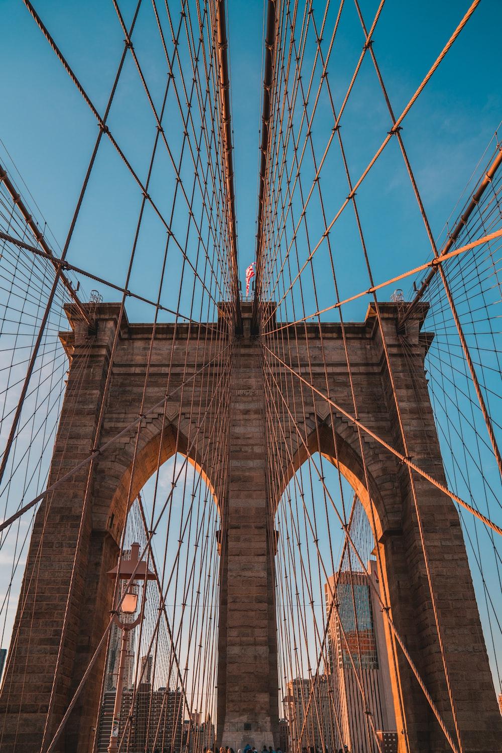 low angle photo of Brooklyn Bridge