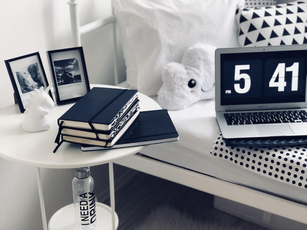 books on round white table