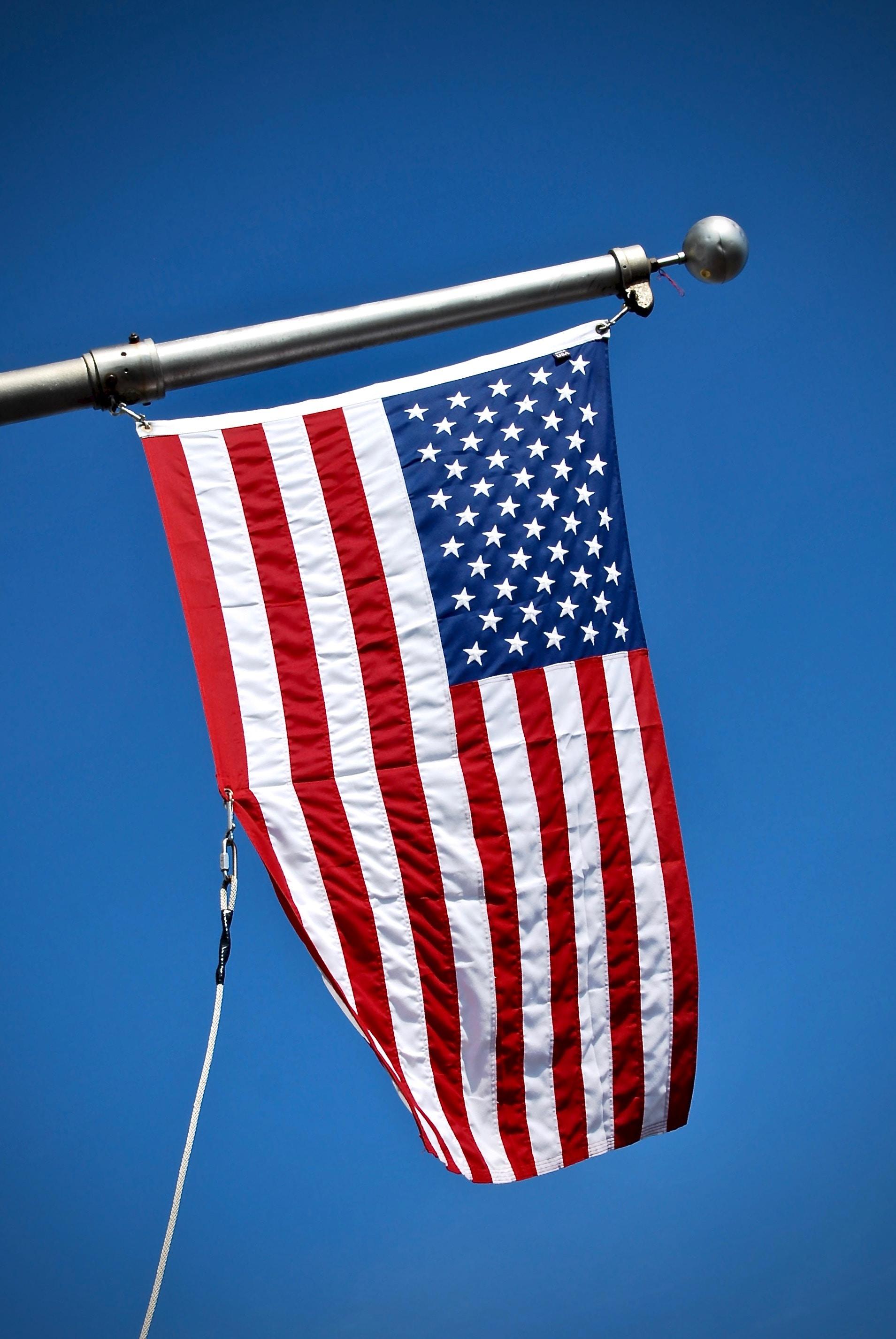 USA flag on pole