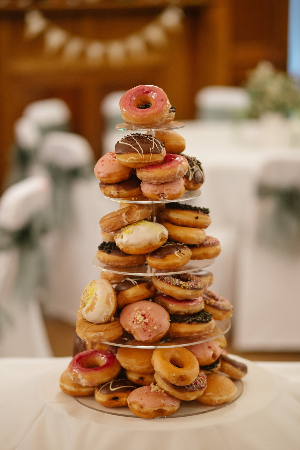 donuts on glass trays