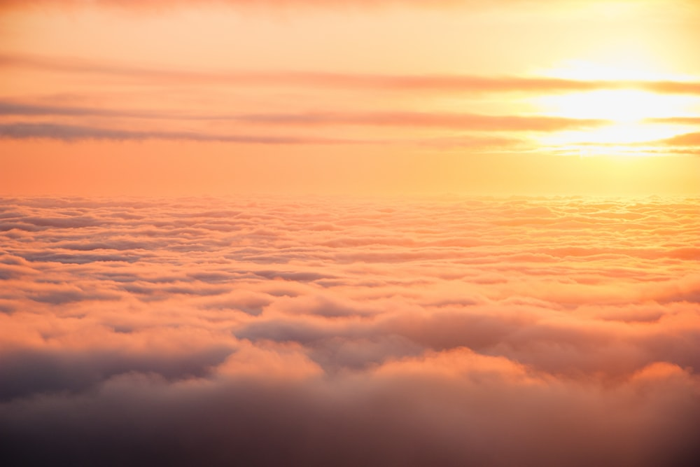 aerial photography of clouds under sunset