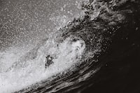 grayscale photo of barrel wave