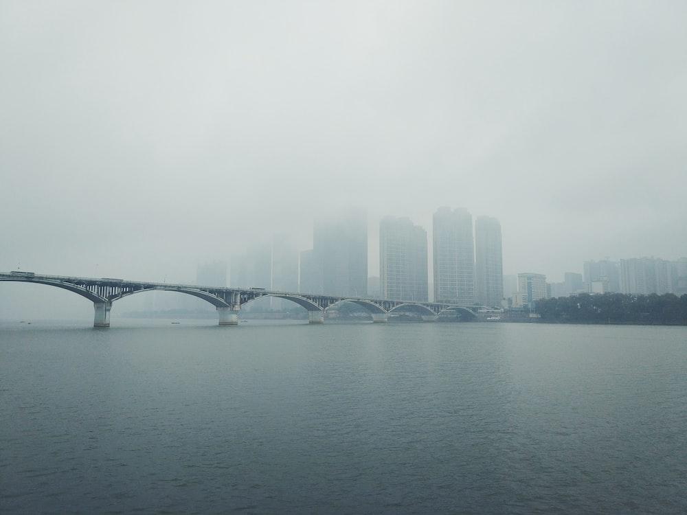 view of gray bridge