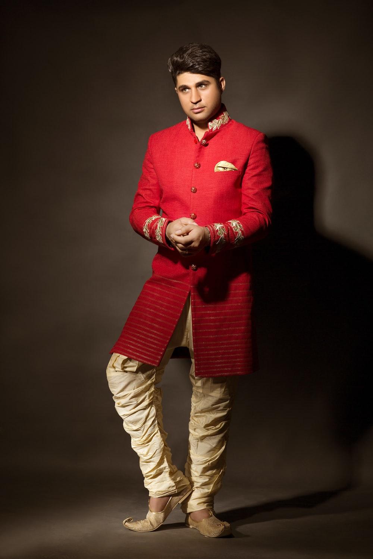 men's red long-sleeved dress
