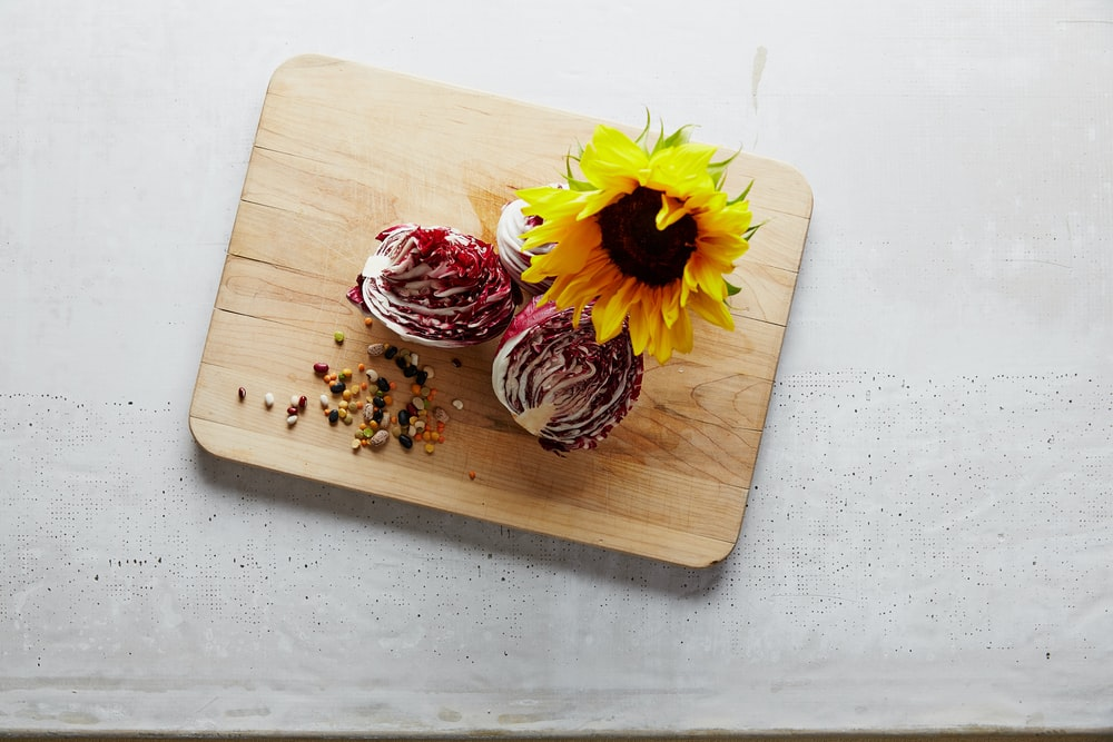 sunflower on chopping board