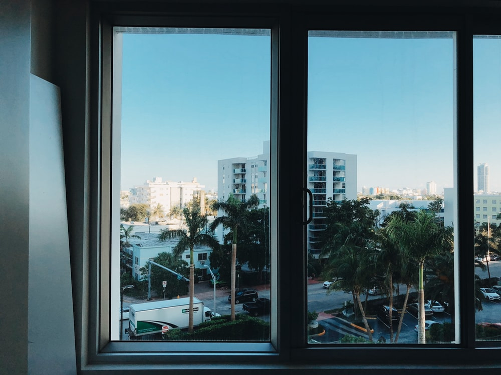 closed white slide window