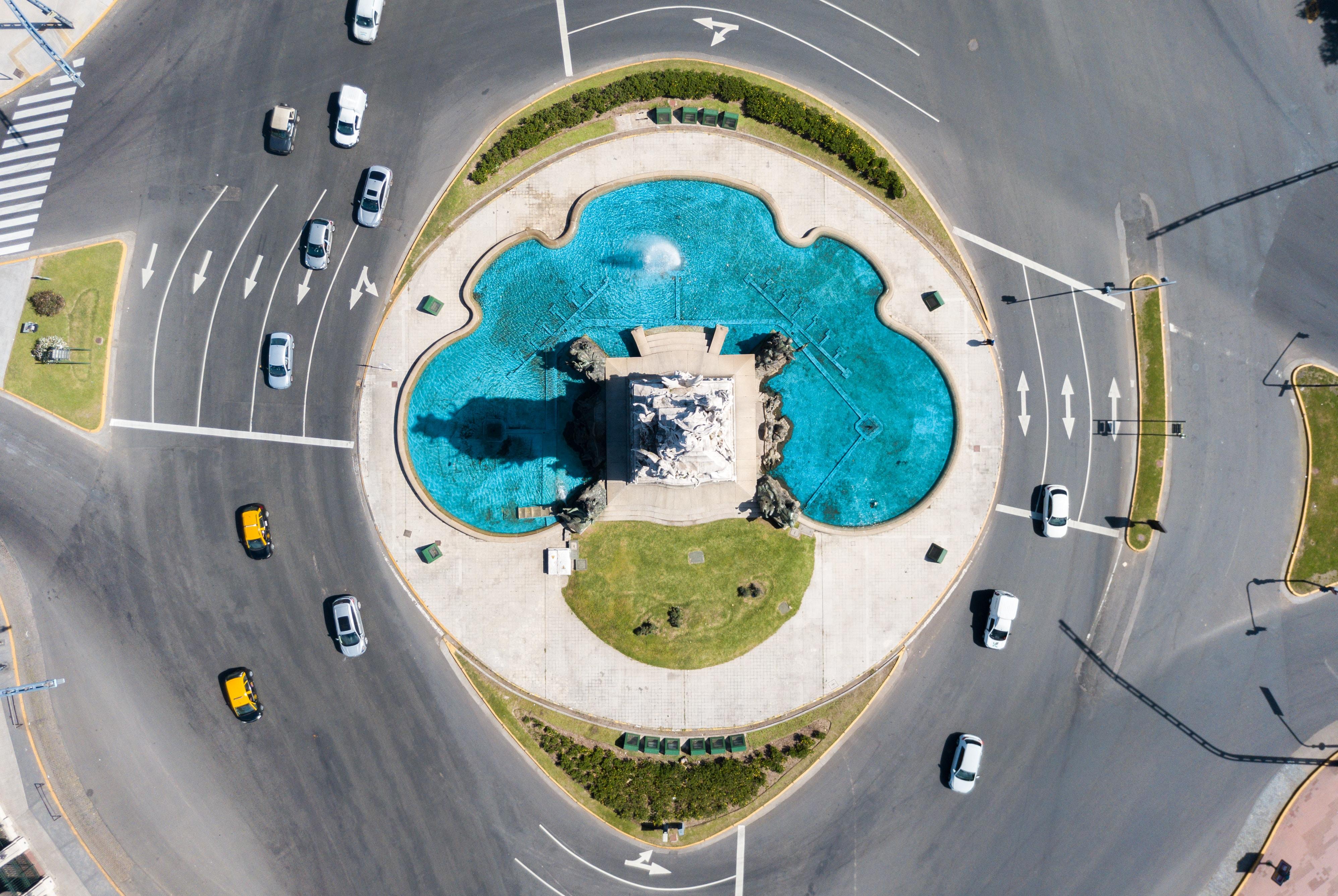 bird's eye photography of cars